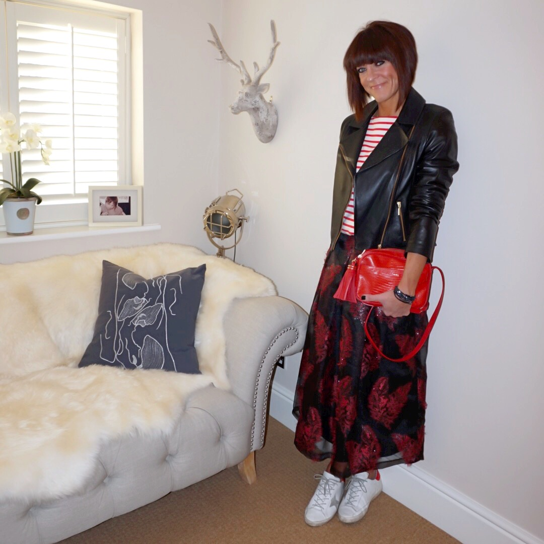 my midlife fashion, baukjen everyday leather biker jacket, uniqlo stripe boatneck long sleeve t shirt, uterque mock croc crossbody bag, marks and spencer feather flared jacquard a line midi skirt, golden goose superstar low top leather trainers