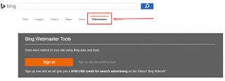 daftar di Bing webmaster dengan sign up