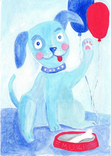 Dog blue birthdaycard ballons gouache art Aide Leit