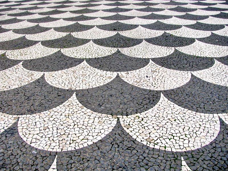 portuguese sidewalk, white bra