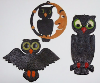 Flying owl, perched owl, and owl on the chin of a quarter moon.