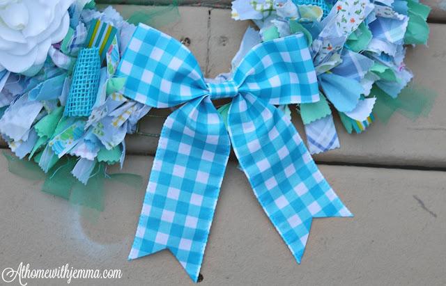 gingham, buffalo, check, blue bow, handmade,spring