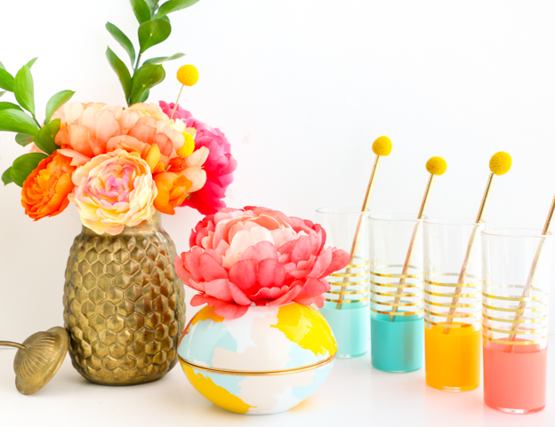 a kailo chic life diy it   patterned orb vases and cake