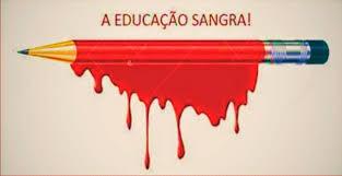 A caneta escorrendo sangue é violência na educação.