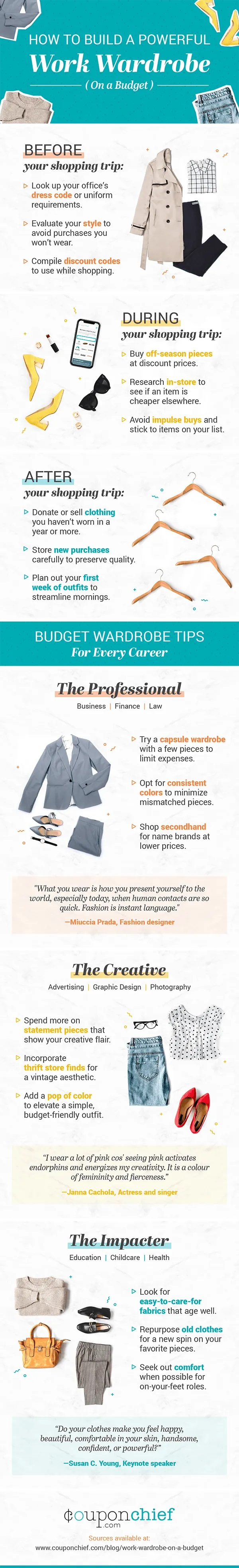 How to Build a Powerful Work Wardrobe on a Budget #infographic