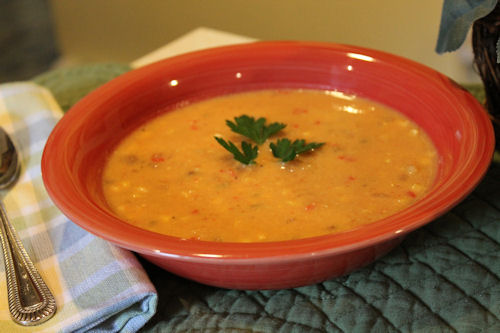 Corn Chowder in a bowl.