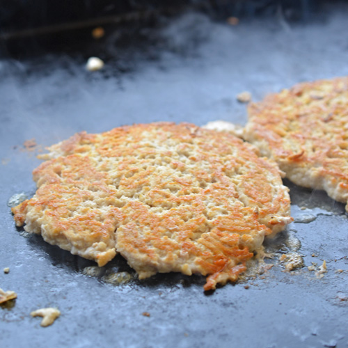Cooking Buffalo chicken smash burgers on the Blackstone Griddle