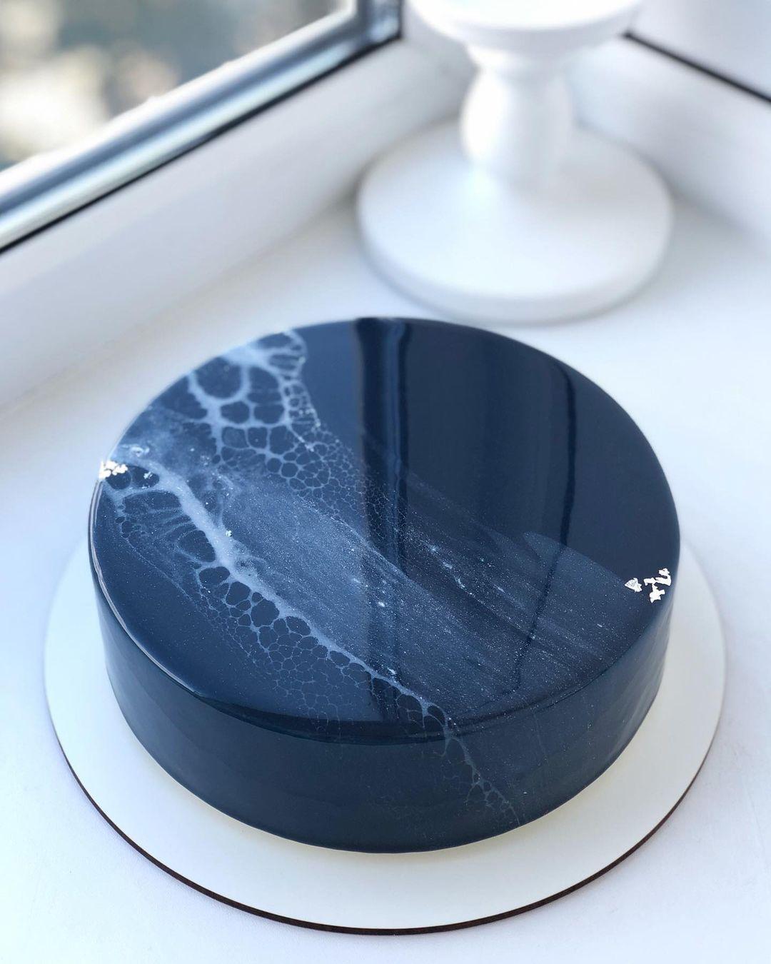 Navy blue marble cake