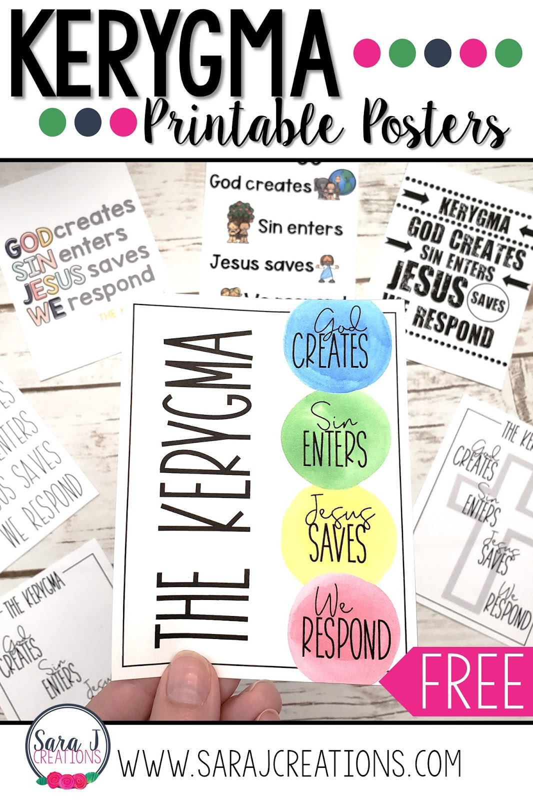 Free printable posters to make teaching kids the Kerygma even easier. Help them to proclaim the Gospel to those around us with these four phrases. Perfect for Catholic schools, religious education program, Sacramental prep, Sunday school, homeschool, Bible School and more.