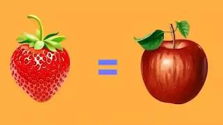 تبييض الأسنان بالفواكه التفاح والفراولة.