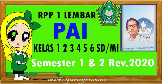 RPP 1 lembar PAI SD Kelas 1 2 3 4 5 & 6 Revisi 2020 Semester 1-2