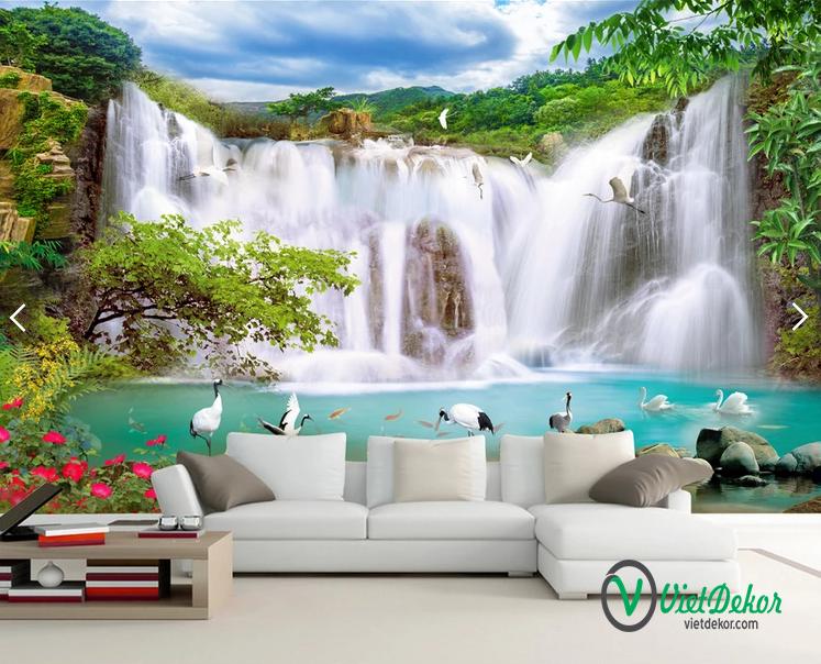 Tranh dán tường 3d phong thủy thác nước cò bay