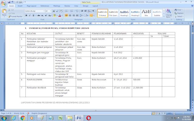 Contoh laporan program kerja tahunan kepala sekolah