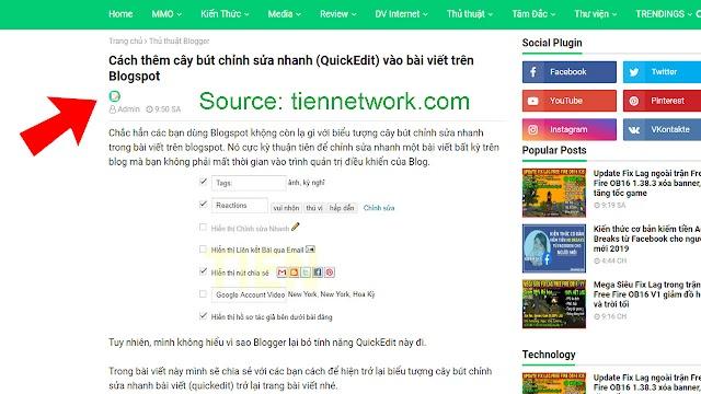 Cách thêm cây bút chỉnh sửa nhanh (QuickEdit) vào bài viết trên Blogspot