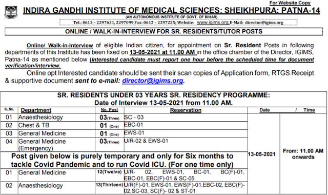 IGIMS Patna Senior Resident Recruitment 2021