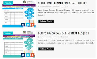 Exámenes Bimestrales de Primaria del Bloque 1 de primero a sexto grado.