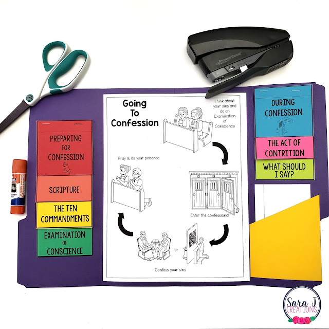 Help your students prepare for confession with this reconciliation lapbook. Perfect for helping Catholic kids to understand the steps to confession and have less anxiety because they know what they are going to say and do..