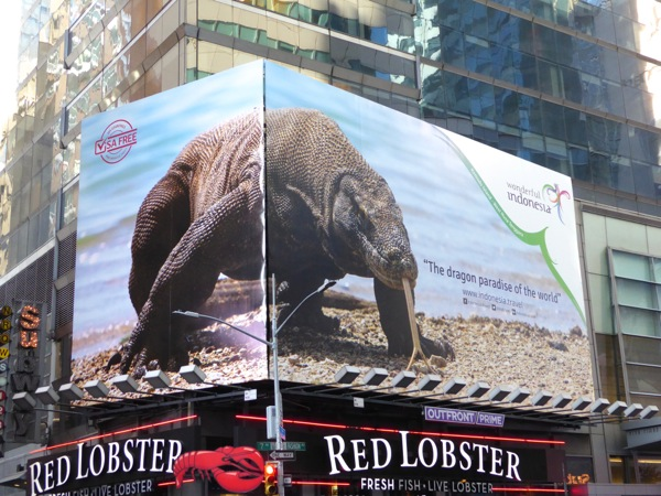 Indonesia tourism Komodo dragon billboard NYC
