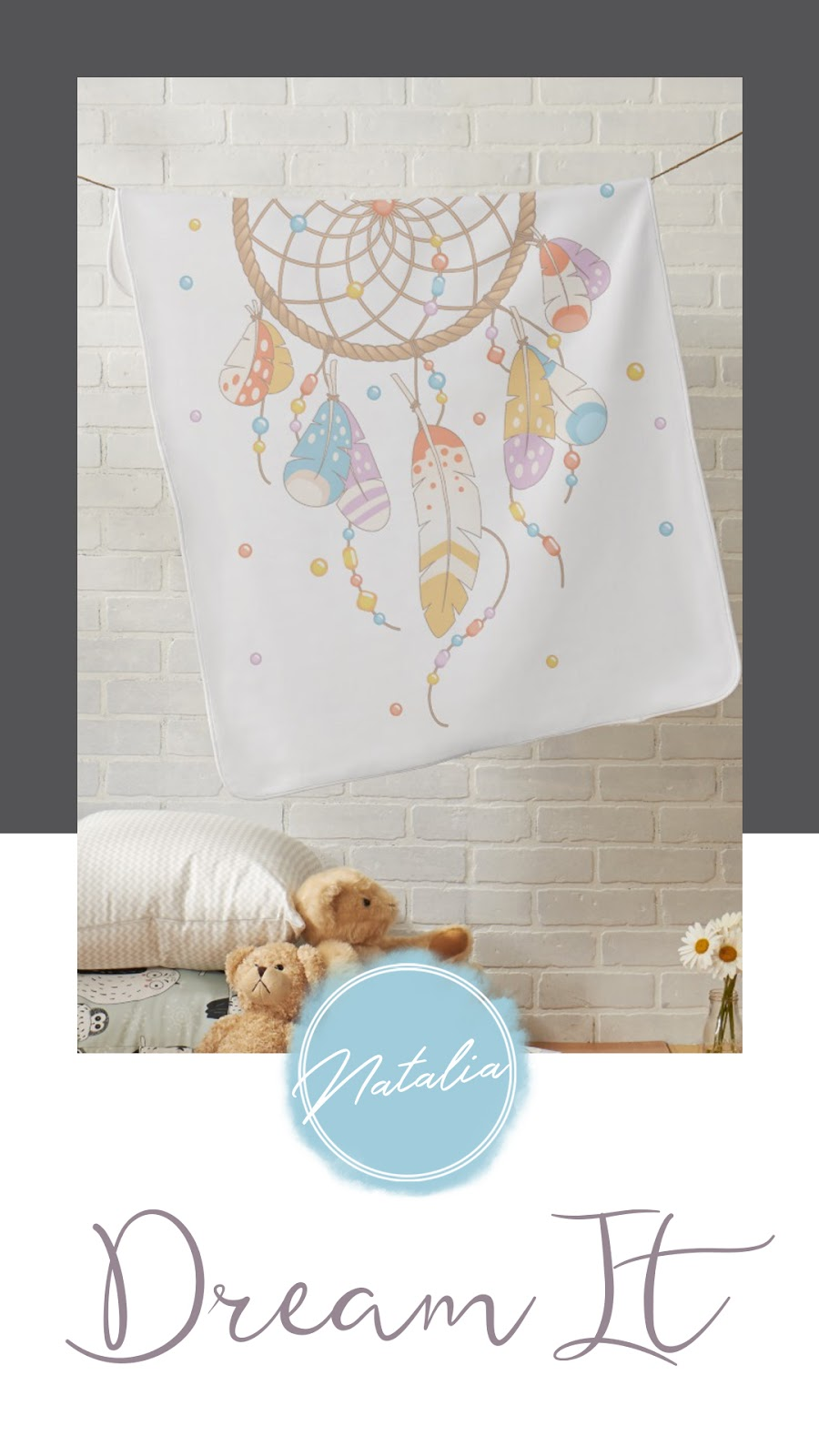 Boho chic dreamcatcher baby shower and birthday collection. Featuring personalized baby receiving blanket. In a yellow, purple, orange, and blue color palette.