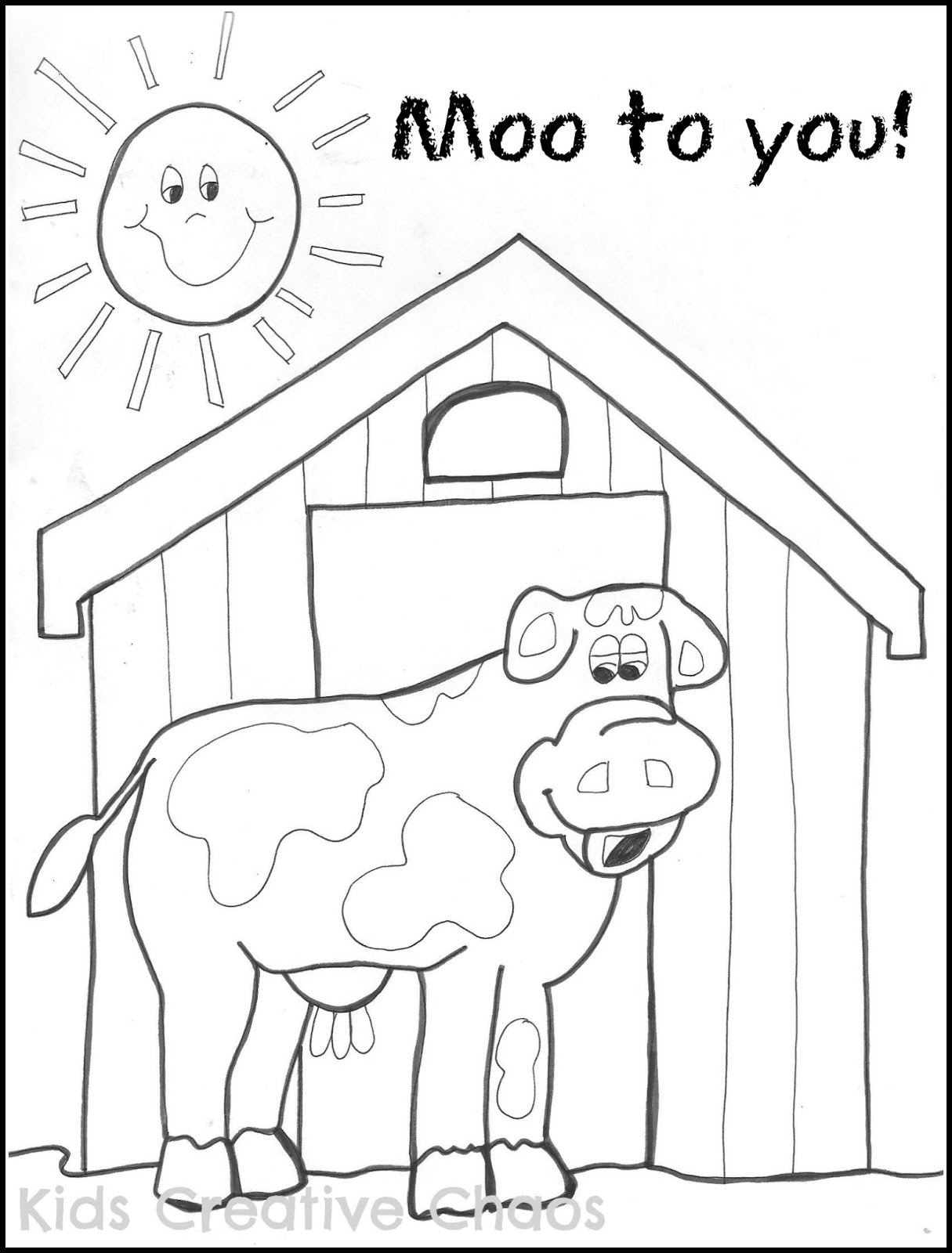 Big Red Barn Coloring Sheet and Creative Country Sayings: Farm ...