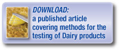 Download a published article covering methods for the testing of dairy products