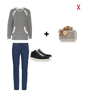 Сочетание джинсов со свитером и клатча