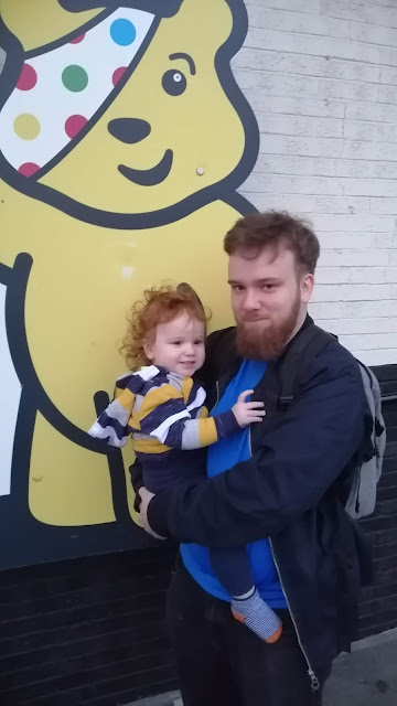 Matt and Mini with Pudsey at Oxford services