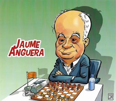 Jaume Anguera Maestro, en una caricatura de Wadalupe