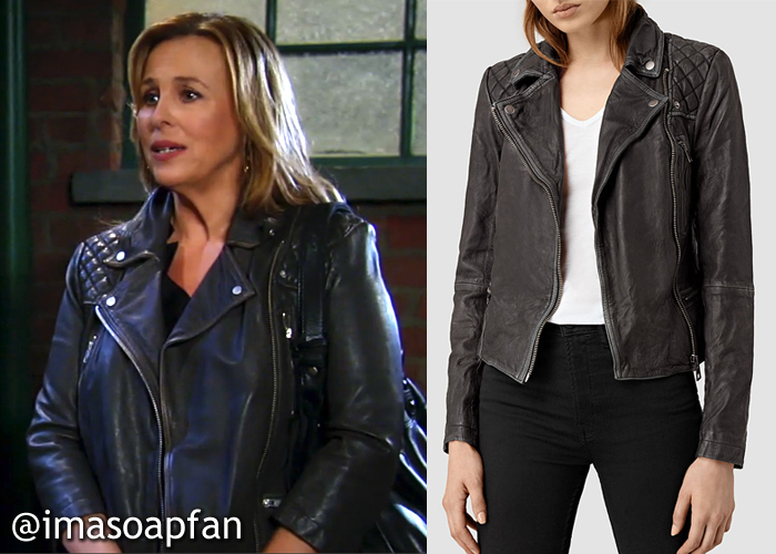 General Hospital, Genie Francis, GH, Laura Spencer, Grey Leather Jacket