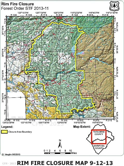 Rim Fire Closure Map Stanislaus National Forest