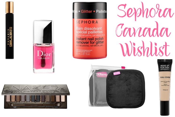 sephora canada wishlist bbloggers bbloggersca perfume dior urban decay mufe glitter