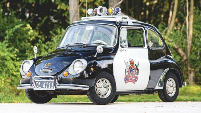 Subaru 360 With only 25 horsepower and less than 500 KG, The world's smallest police car goes to auction.