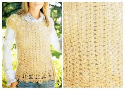 Chaleco Pull de Crochet atado a la cintura