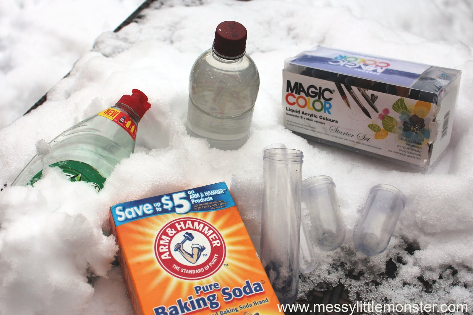 Snow Volcano Science Experiment