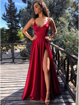 Modest v-neck front cross back dark red prom dress