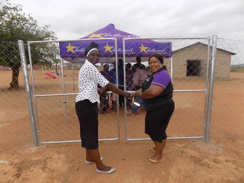 The staff and children of Rivala Drop-In Centre are grateful for the new gate and fence they received from Hollywoodbets Giyani
