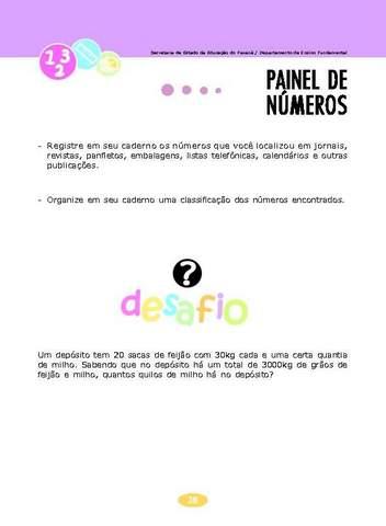 Painel de Números - Coletânea de Atividades Matemática.