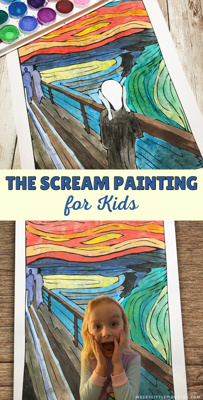 Edvard Munch The Scream Painting for kids with printable. Halloween art project and self portrait for kids.