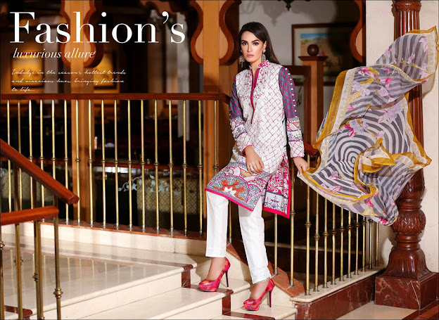 Nadia Hussain lawn White & Grey color suits
