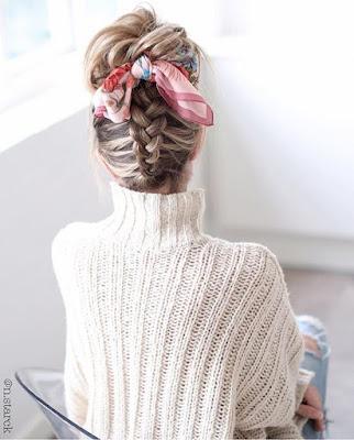 lenço entramado no penteado