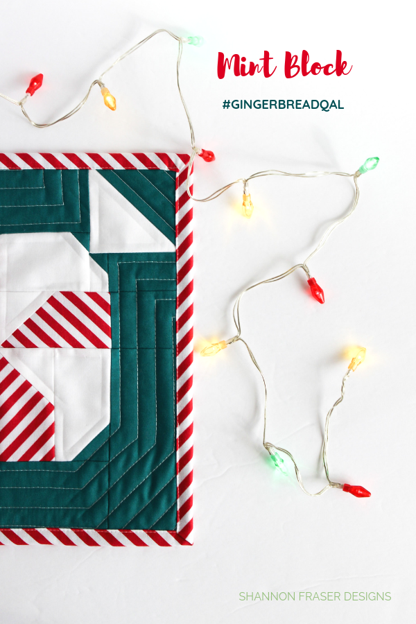 Quilted Mint Sweet Block with holiday lights | Love Patchwork & Quiltling #gingerbreadQAL | Shannon Fraser Designs