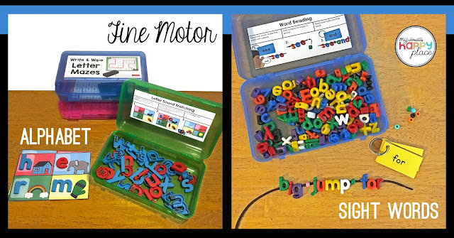 magnetic letters and letter beads for fine motor activities