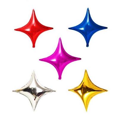 Balon Foil Bintang Segiempat Mini Polos