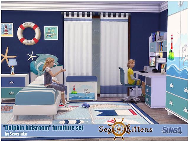 Симс 4, для The Sims 4, The Sims 4, моды для Sims 4, предметы для Sims 4, Severinka_, Sims 4, мебель, декор, детская комната, детская кровать, детская мебель, декор для детской, комната для ребенка, морской стиль, подводный стиль, декор для детской, украшение детской, детская для малыша,