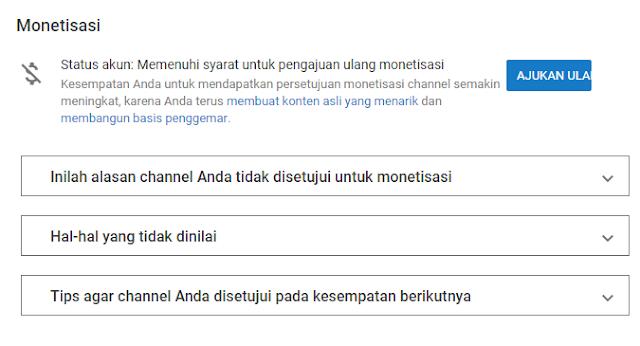 Akhirnya Chanel YouTube Ku Bisa Mengajukan Monetisasi