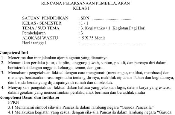 RPP Kurikulum 2013 Kelas 1 Tema 3 Subtema 1 Revisi 2016