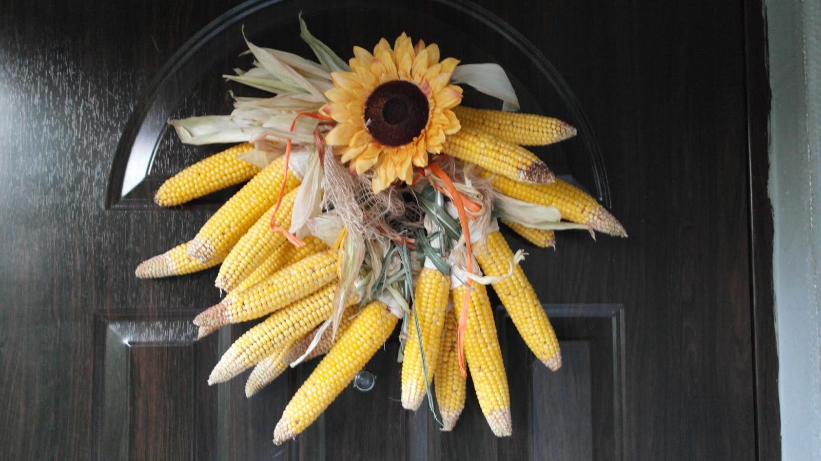 Kreatywne Dekoracje Creative Decoration Stroik Z Kukurydzy Na Drzwi Jesien