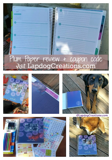 plum paper planner and dogs
