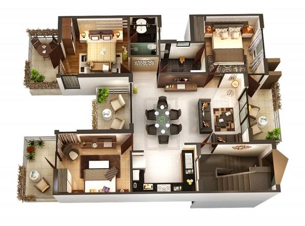 desain denah rumah 1 lantai 3 kamar tidur