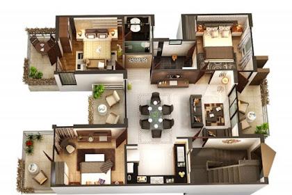 10 Contoh Denah Rumah Minimalis 3 Kamar Tidur 3D